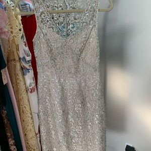 BCBG Silver Lace Cocktail Dress Size 2